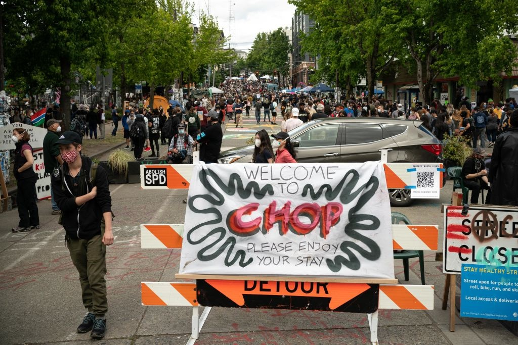 A sign welcomes visitors on East Pine Street during ongoing Black Lives Matter events at the so-called