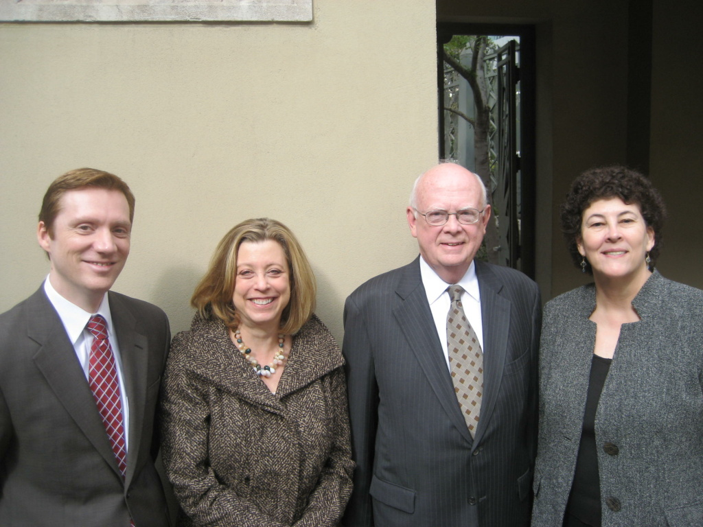 From Left:  Gregory Cox and Laura Zucker of Claremont Graduate University, Getty Leadership Institute Director Phil Nowlen, and Deborah Marrow, director of the Getty Foundation.
