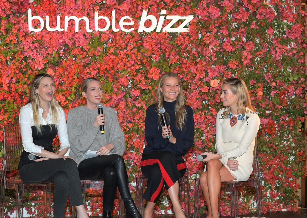 Sara Foster, Erin Foster, Gwyneth Paltrow, and Whitney Wolfe Herd speak onstage Bumble Bizz Los Angeles Launch Dinner At Nobu Malibu at Nobu Malibu on November 15, 2017 in Malibu, California.