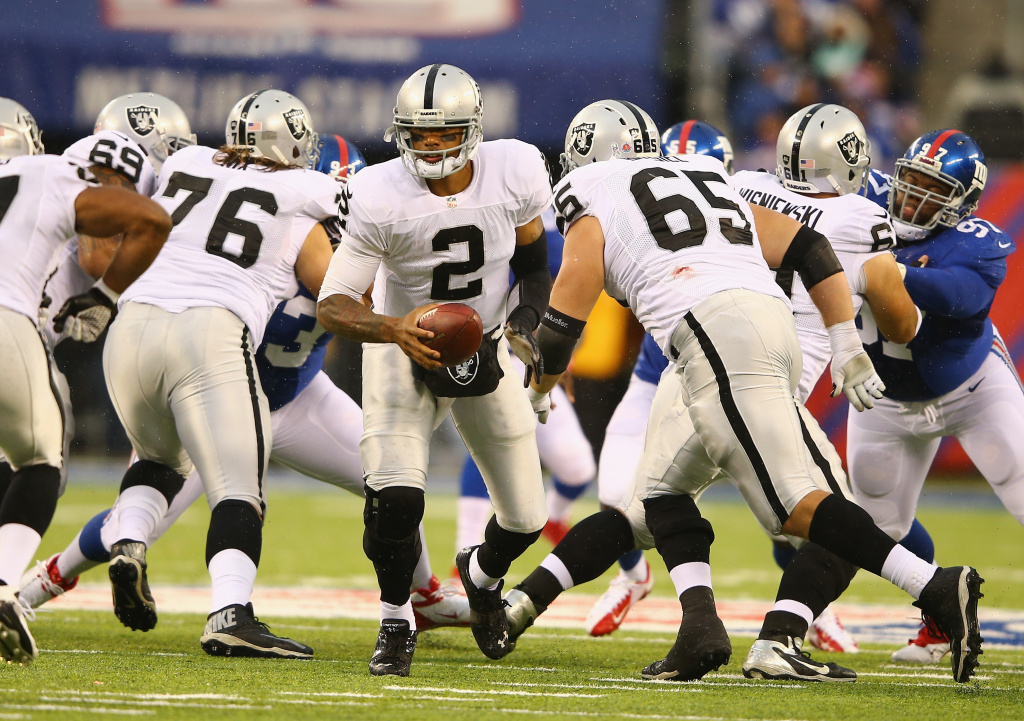 Terrelle Pryor #2 of the Oakland Raiders in action against the New York Giants during their game at MetLife Stadium on November 10, 2013 in East Rutherford, New Jersey.