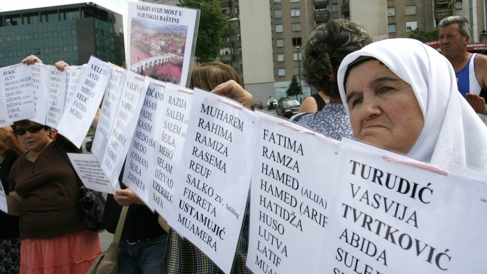 Bosnian Muslim women hold posters with the names of the missing during a protest at the U.N. office in Sarajevo in 2008.