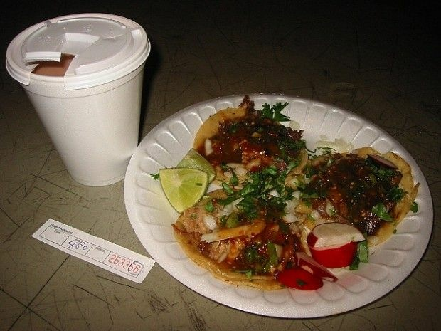 Tacos and champurrado, hot off a taco truck, December 2006