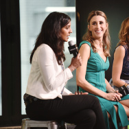 "(L-R) Director Meera Menon, Sarah Megan Thomas and Alysia Reiner discussing the 2016 film, ""Equity."""