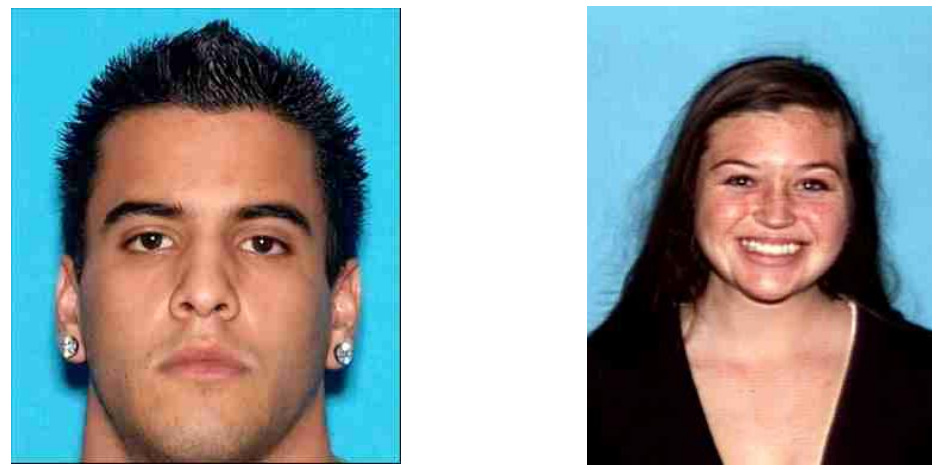 Photos of Nicholas Cendoya, 19, (left) and Kyndall Jack, 18, of Costa Mesa, who were rescued from the Cleveland National Forest in Orange County after a five-day search in April 2013.