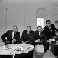 Martin Luther King, Jr. (center), with Roy Wilkins, James Farmer, and Whitney Young, met with President Lyndon B. Johnson in the Oval Office on Jan. 18, 1964.