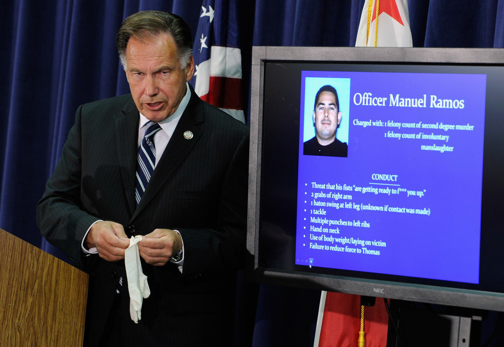 Orange County District Attorney Tony Rackauckas speaks during a news conference to announce that two Fullerton, California police officers were charged in connection with the death of Kelly Thomas on September 21, 2011 in Santa Ana, California. Orange County District Attorney Tony Rackuackas has repeatedly said the investigation into a third officer's involvement is ongoing.