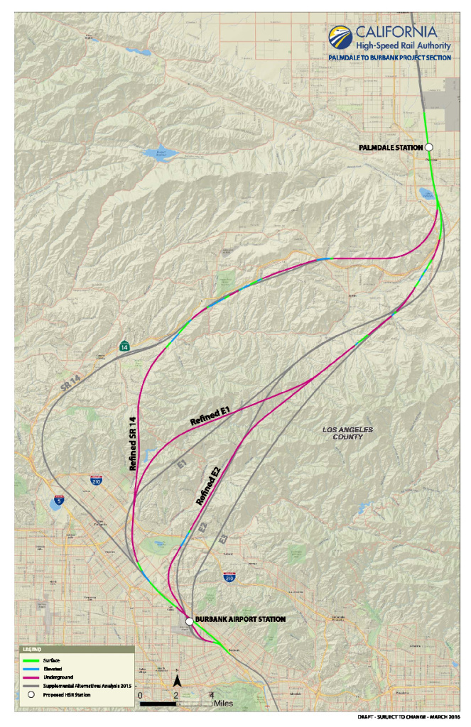 A map shows the three updated route options for the Burbank to Palmdale section of the California bullet train.