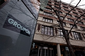 A sign marks the location of the Groupon headquarters on November 30, 2010 in Chicago, Illinois.