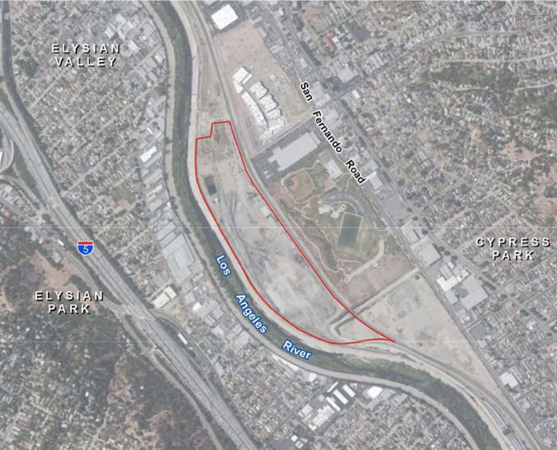 The red outline shows the G2 parcel within the former Taylor Yard railroad complex north of Downtown Los Angeles