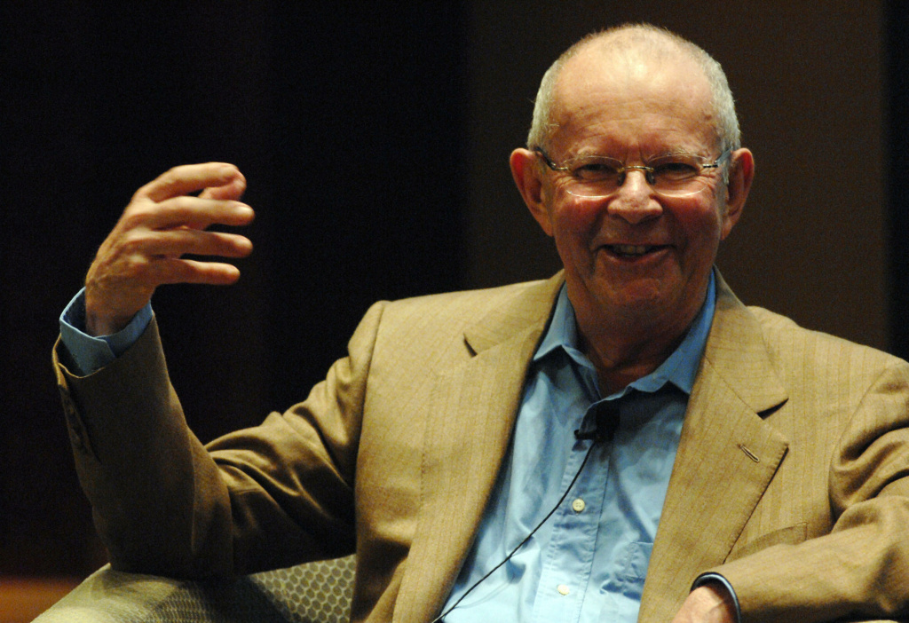 Internationally acclaimed Central African born author, Wilbur Smith, shares his experience during the second day of the International Festival of Literature in Dubai on February 27, 2009.