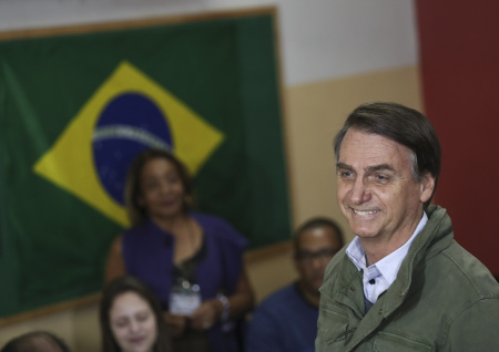 Jair Bolsonaro, far-right lawmaker and presidential candidate of the Social Liberal Party (PSL), arrives to cast his vote on October 28, 2018 in Rio de Janeiro, Brazil.