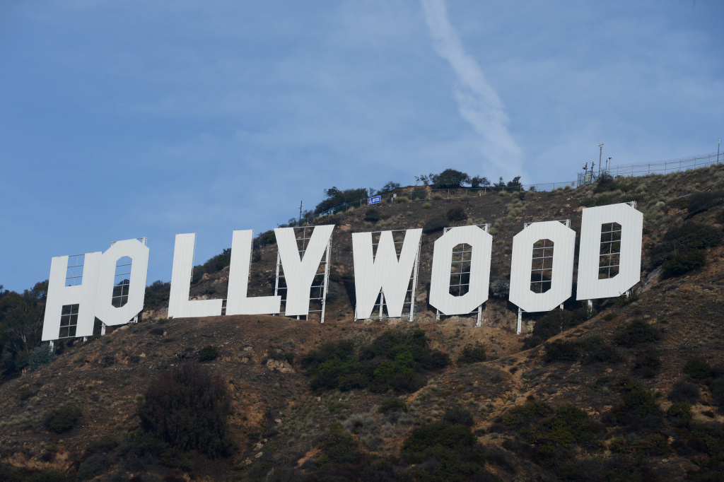 The freshly painted Hollywood sign is seen after a press conference to announce the completion of the famous landmark's major makeover on December 4, 2012 in Hollywood.