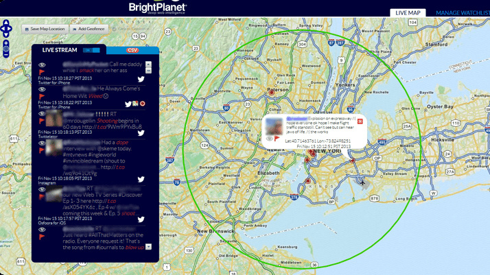 BlueJay, a tool by social media monitoring company BrightPlanet, shows the locations of tweeters who have left their geo-tagging option activated.