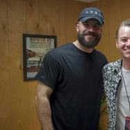 Dustin Shappell backstage at the Route 91 Harvest Festival with country music star, Sam Hunt.