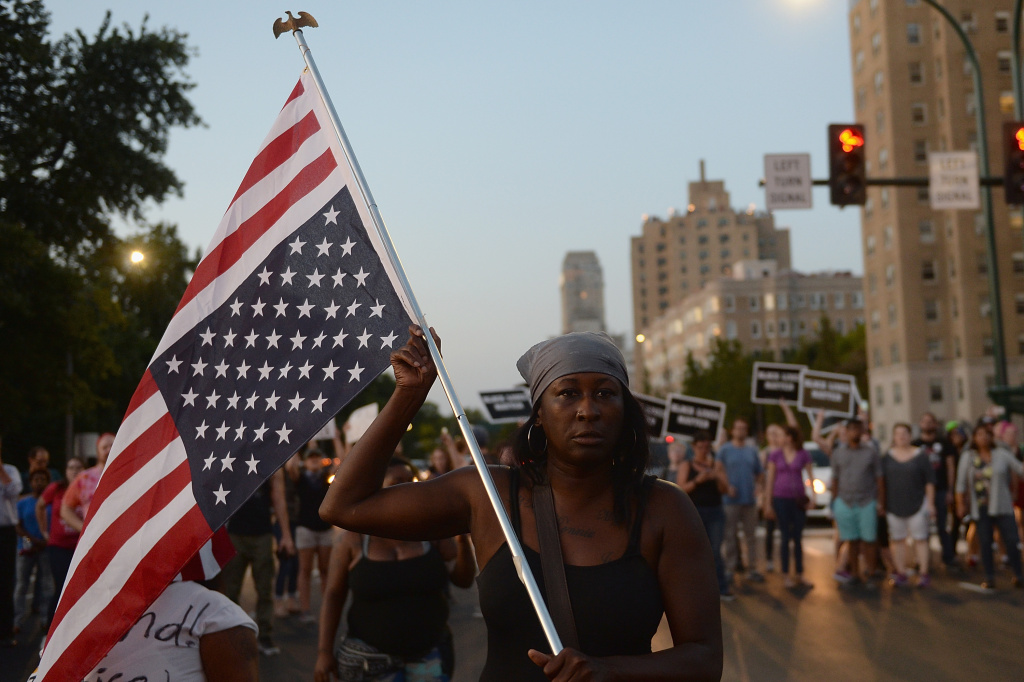ST. LOUIS, MO - SEPTEMBER 15: Protestors demonstrate during a protest action following a not guilty verdict on September 15, 2017 in St. Louis, Missouri. Protests erupted today following the acquittal of former St. Louis police officer Jason Stockley, who was charged with first-degree murder last year in the shooting death of motorist Anthony Lamar Smith in 2011. (Photo by Michael B. Thomas/Getty Images)