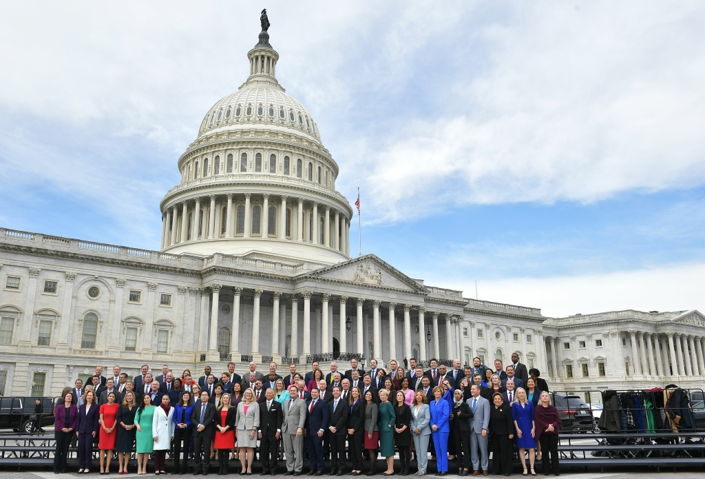 The 116th Congress members-elect pose for a group photo on the East Front Plaza of the US Capitol in Washington, DC on November 14, 2018.
