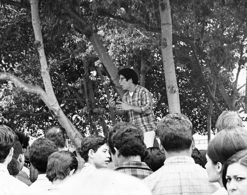 Walkout leader John Ortiz addresses a group of students in front of Garfield High School on March 7, 1968.
