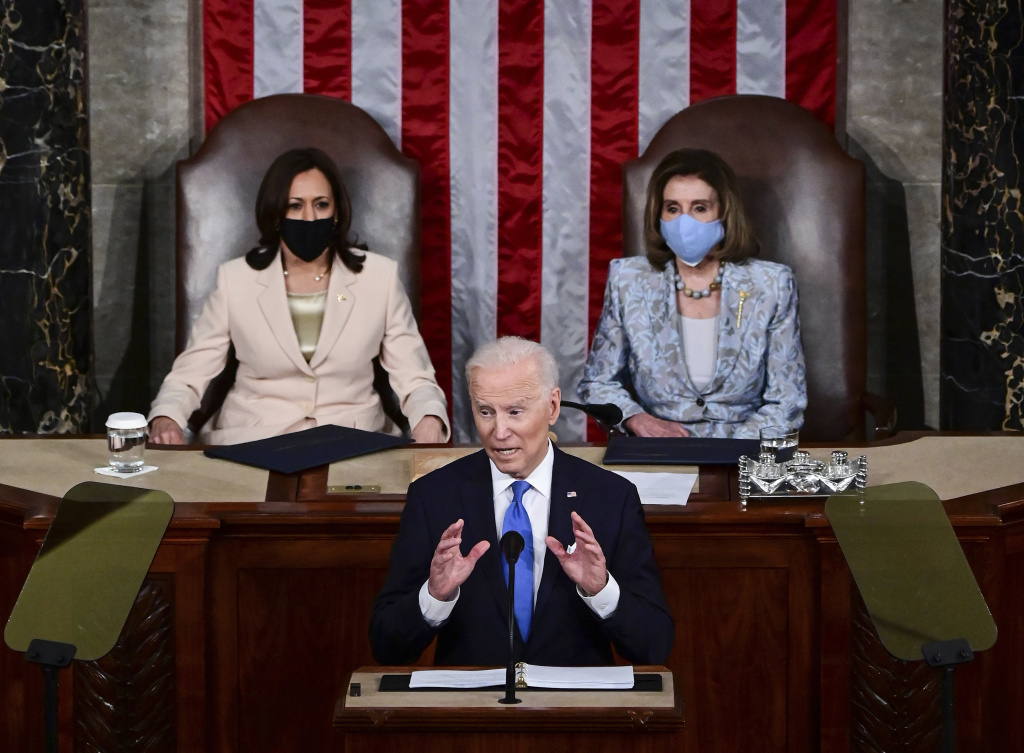 President Biden addresses a joint session of Congress. Biden made the pitch for a larger federal role and marked history in the House chamber with two top women: Vice President Harris and House Speaker Nancy Pelosi.