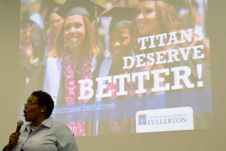 Berenecea Johnson Eanes, vice president of student affairs at Cal State Fullerton, speaks at a public forum regarding the