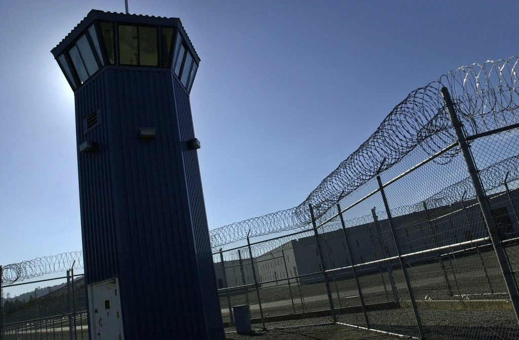 A watchtower rises above the maximum security complex at Pelican Bay State Prison in Crescent City.