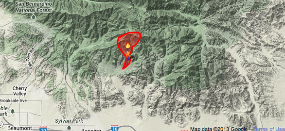 The Hathaway Fire has scorched 3,326 acres and is 40 percent contained as of Thursday, June 13. (A map of the Hathaway Fire in Riverside County as of Monday, June 10, 2013.)