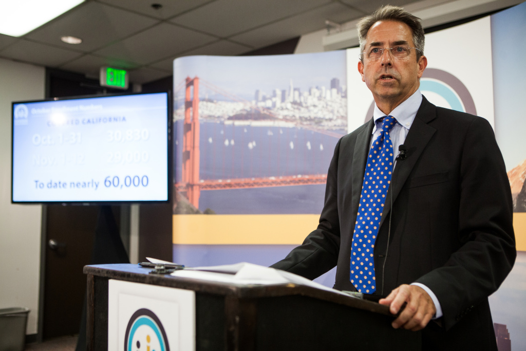 SACRAMENTO, CA - NOVEMBER 13:  Covered California Executive Director Peter Lee speaks during a press conference regarding the number of new healthcare enrollees through CoveredCA.com.