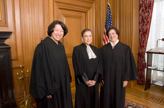 Justices Sonia Sotomayor, Ruth Bader Ginsburg, and Justice Elena Kagan in the Justices' Conference Room prior to Justice Kagan's Investiture Ceremony, Friday, Oct. 1, 2010.