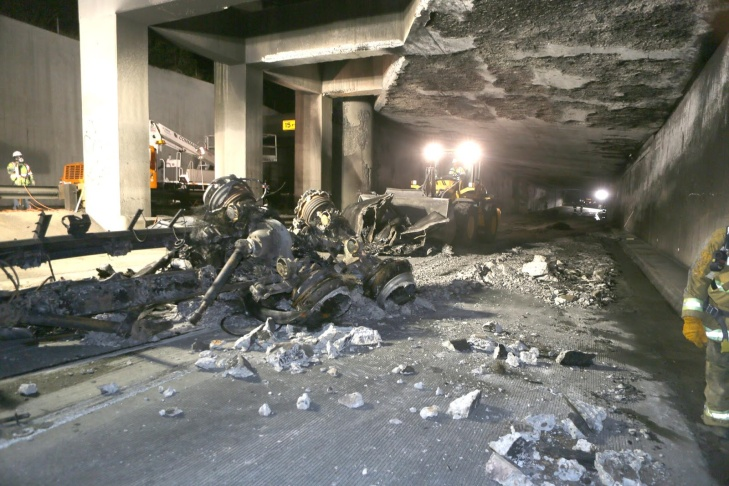 The chassis of a tanker that crashed in a tunnel at the I-5/State Route 2 interchange.