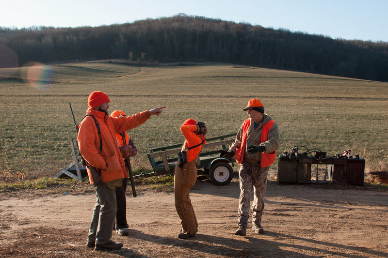 A group of hunters gather in southern Wisconsin for a late season antler-less deer hunt.