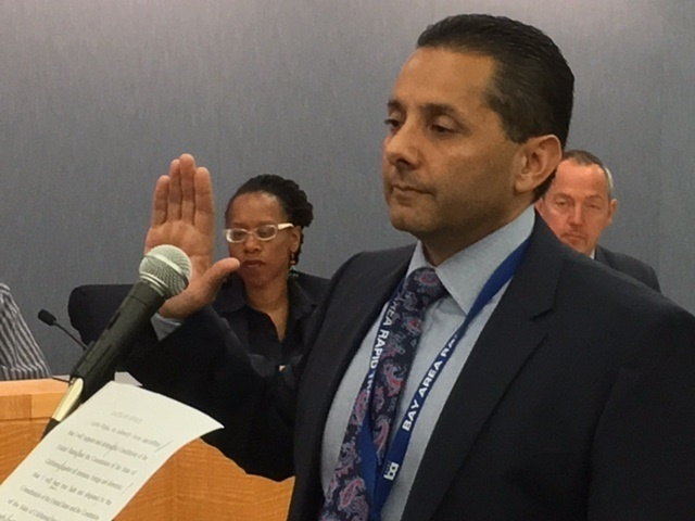 In this file photo, Carlos Rojas is sworn in as Chief of Police of Bay Area Rapid Transit on May 25, 2017. Rojas filed a lawsuit against the city of Santa Ana on Sept. 26 alleging he was forced to resign as the city's police chief in retaliation for his attempts to weed out corruption.