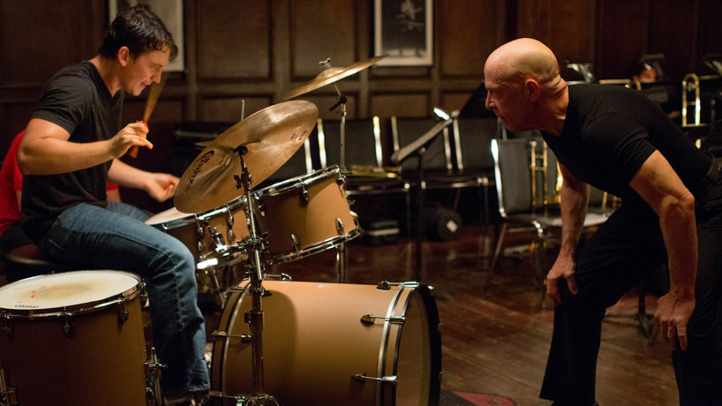 (L-R) Miles Teller and J.K. Simmons star in Damien Chazelle's