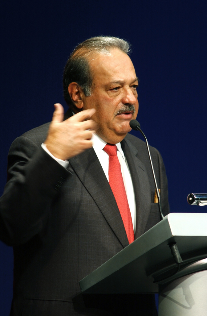 Mexican businessman Carlos Slim speaks during the