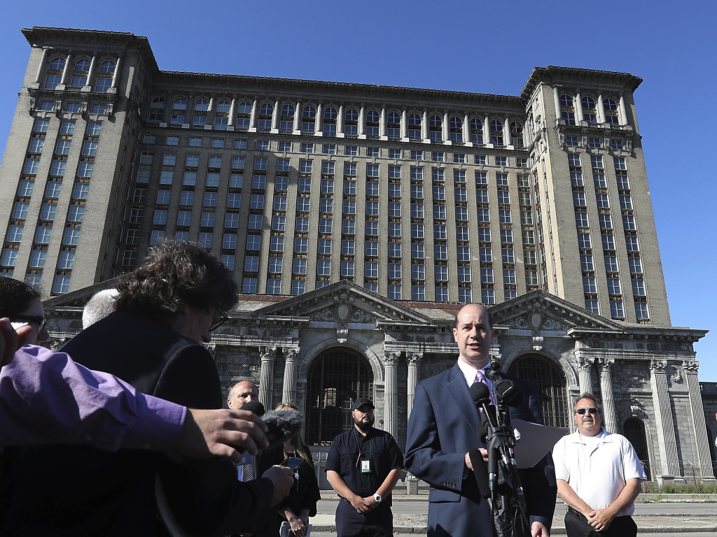 Matthew Moroun announces the sale of Michigan Central Station to the Ford Motor Co. on Monday in Detroit.