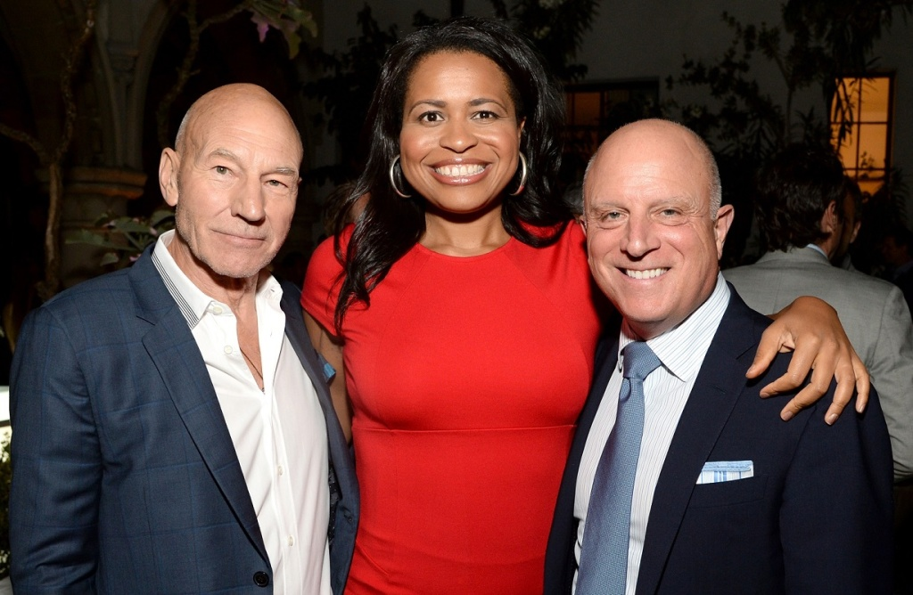 (L-R) Actor Patrick Stewart, producer Courtney Kemp Agboh and Stars CEO Chris Albrecht attend the Starz