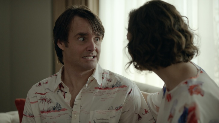 Phil (Will Forte, C) and Carol (Kristen Schaal, L) meet another person (January Jones, R) in the