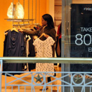 A woman shops at a store in a mall in Arlington, Virginia.