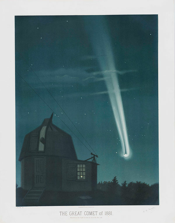 E. L. Trouvelot (1827–1895), The Great Comet of 1881, 1881, color lithograph