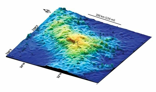 A map of the Tamu Massif formation, which has recently been identified as a giant volcano.