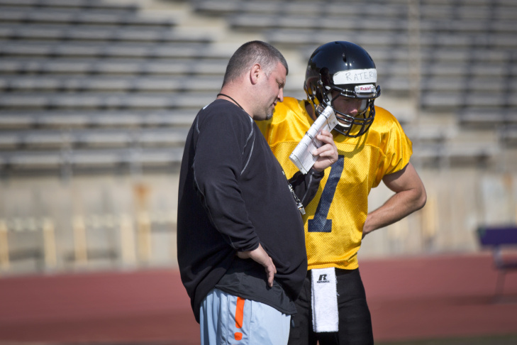 Players take part in an LA Kiss training camp at Whittier College's Memorial Stadium on Tuesday, Feb. 24. The Arena Football League team, co-owned by Gene Simmons and Paul Stanley, will start its first season this March in Anaheim.