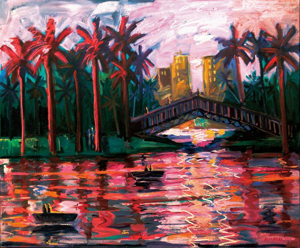 Carlos Almaraz, Echo Park Bridge at Night, 1989, The Buck Collection through the University of California, Irvine.