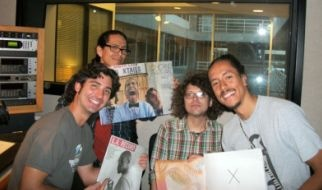 From left to right: Chicano Batman drummer Gabriel Villa, bassist Eduardo Arenas, LA Record's Chris Ziegler, and guitarist/organist/singer Bardo Martinez.