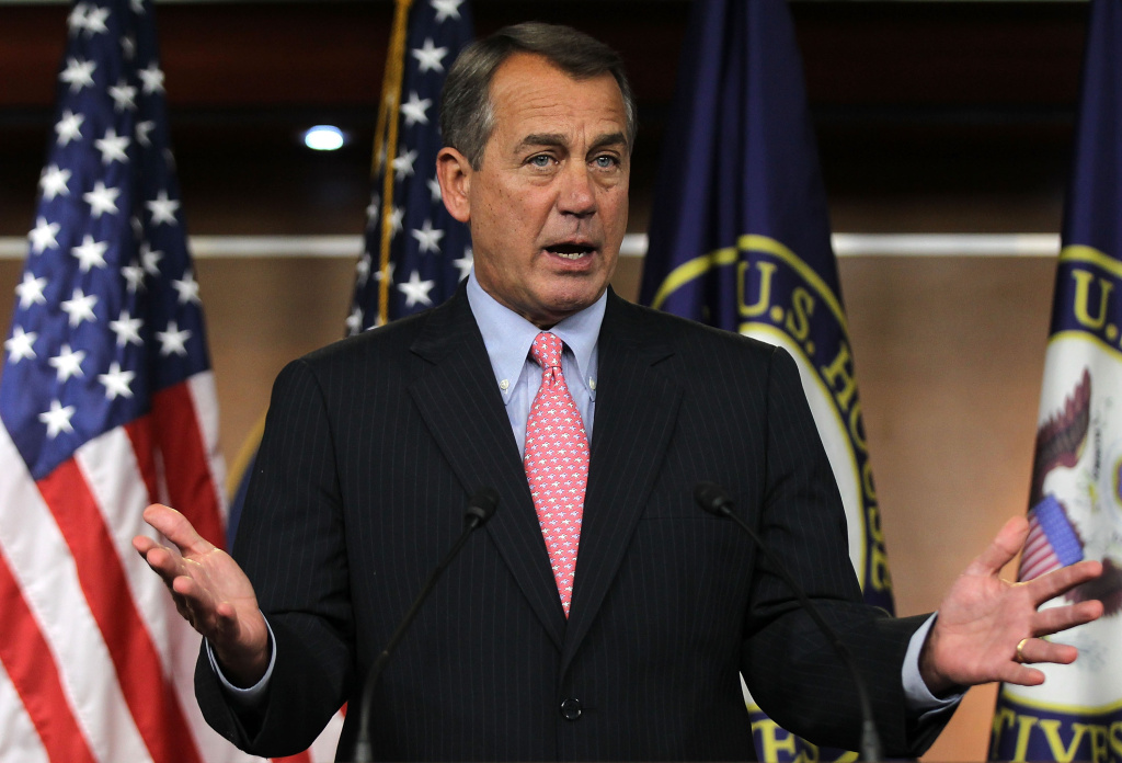 U.S. Speaker of the House Rep. John Boehner (R-OH) speaks during a news conference February 16, 2012 on Capitol Hill in Washington, DC. Boehner is making amends with the conservative wing of his party by allowing Tea Party lawmakers to vote on de-funding Obamacare.