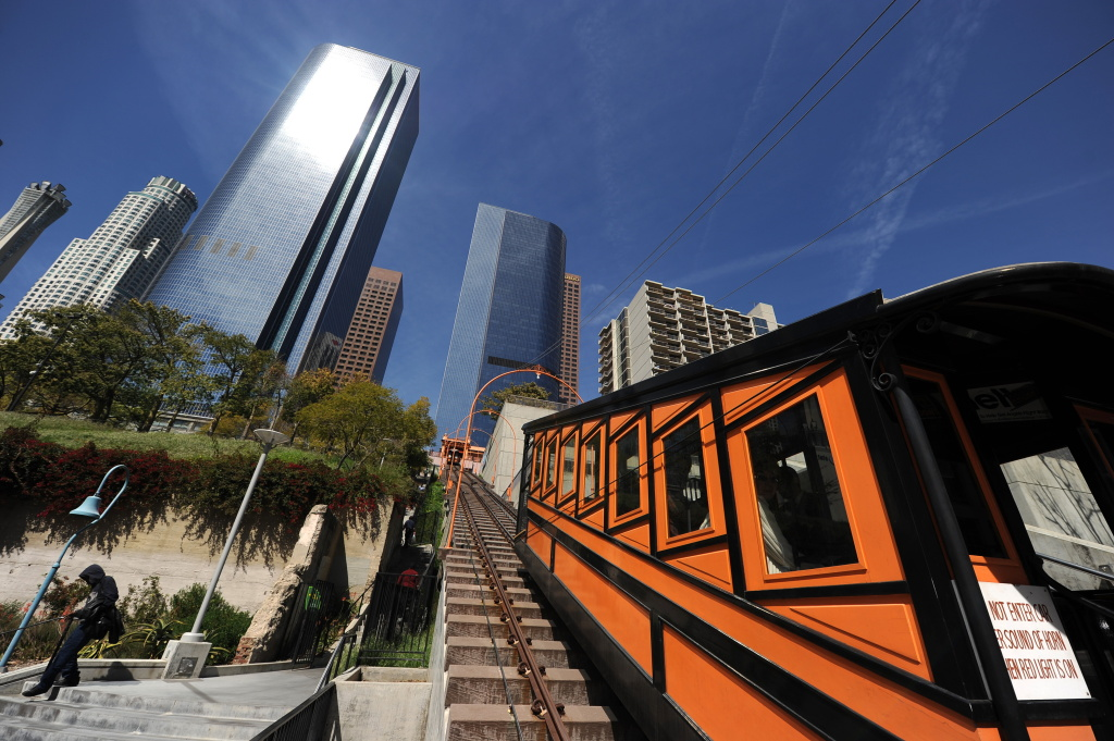 File: The Angels Flight Railway ferries passengers up and down Bunker Hill in downtown Los Angeles March 15, 2010.