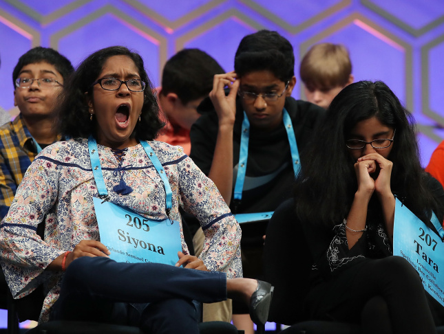 NATIONAL HARBOR, MD - JUNE 01: Children wait for their turn to spell during the final round of 2017 Scripps National Spelling Bee at Gaylord National Resort & Convention Center June 1, 2017 in National Harbor, Maryland. Close to 300 spellers are competing for the top honor in the annual spelling contest. (Photo by Mark Wilson/Getty Images)