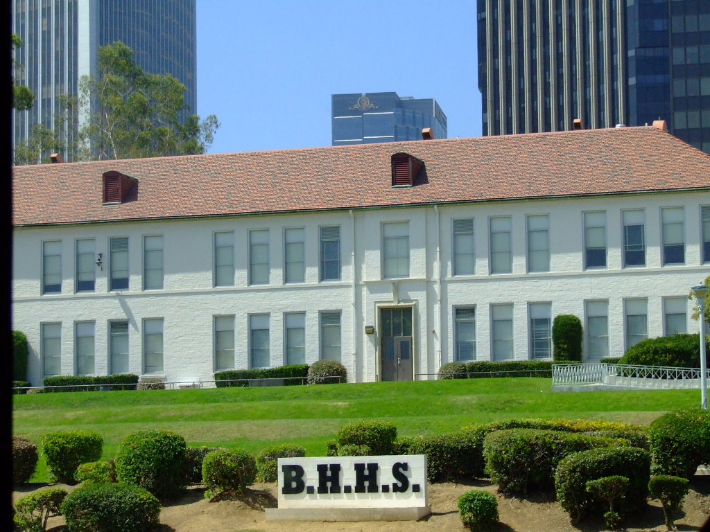 An exterior of Beverly Hills High School. Beverly Hills Unified's school board voted to pull permits from 34 fifth and eighth graders at its meeting Tuesday night (April 24, 2012).