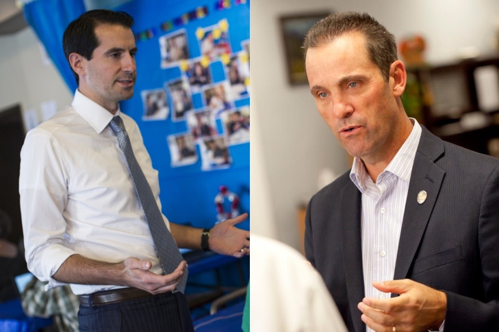 Democrat Bryan Caforio, left, and incumbent GOP Congressman Steve Knight, right, are in a hotly contested race for the 25th Congressional District representing North Los Angeles County.