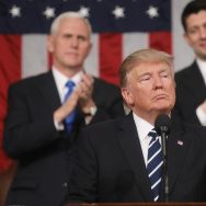 President Trump delivers his first address to a joint session of the Congress as Vice President Pence and Speaker Ryan applaud on Tuesday.