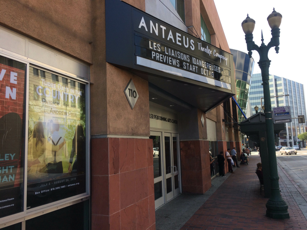 Antaeus Theatre's marquee is has a black background, with white letters, like the classic theatres of the 1910s. But it's a trapezoid shape with big letters that can be read from a car driving by.