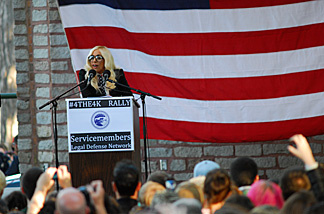 Lady Gaga attends the Servicemembers Legal Defense Network Grassroots Rally in support of repealing 'Don't Ask, Don't Tell' on September 20, 2010 in Portland, ME.