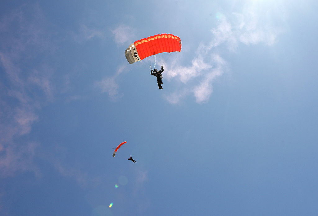 Two skydivers.